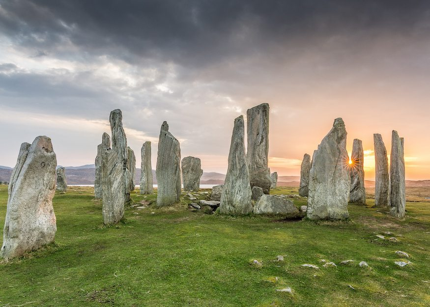 Image: Standing Stones on the Isle of Lewis and Harris where Harris tweed weaving traditions are kept alive