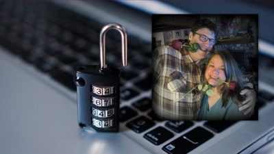 Image: a laptop with a combination lock on it with a photo of two lovers
