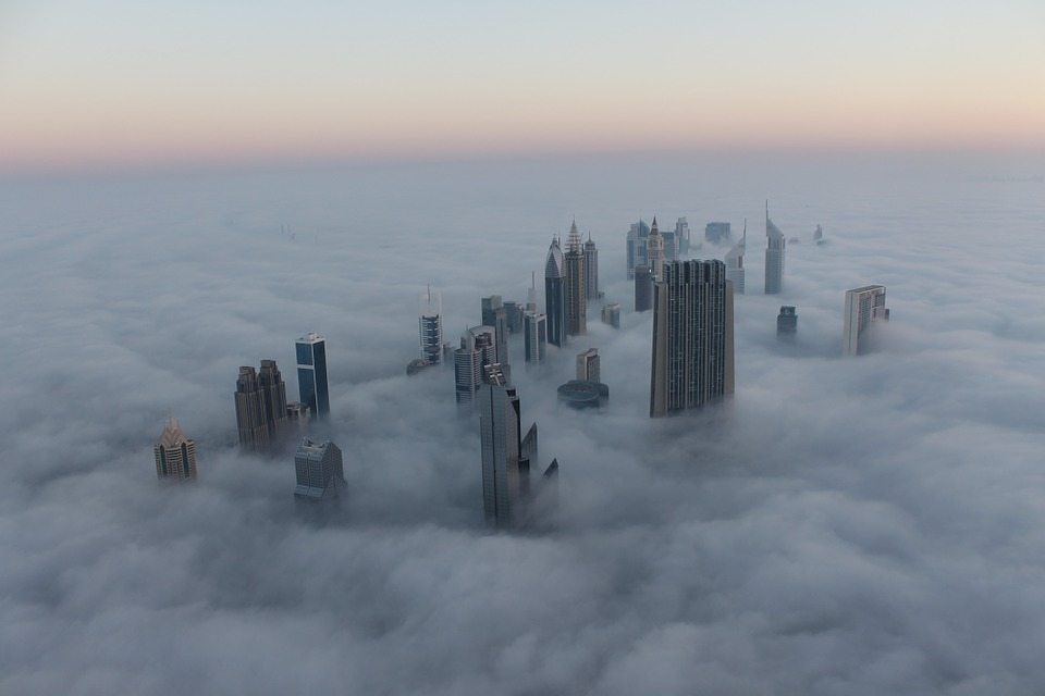 Image: Skyscrapers above the clouds in Dubai