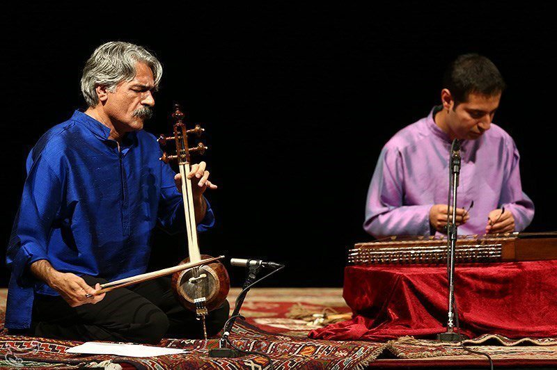 Image: Kamāncheh artist Kayhan Kalhor playing at a music festival