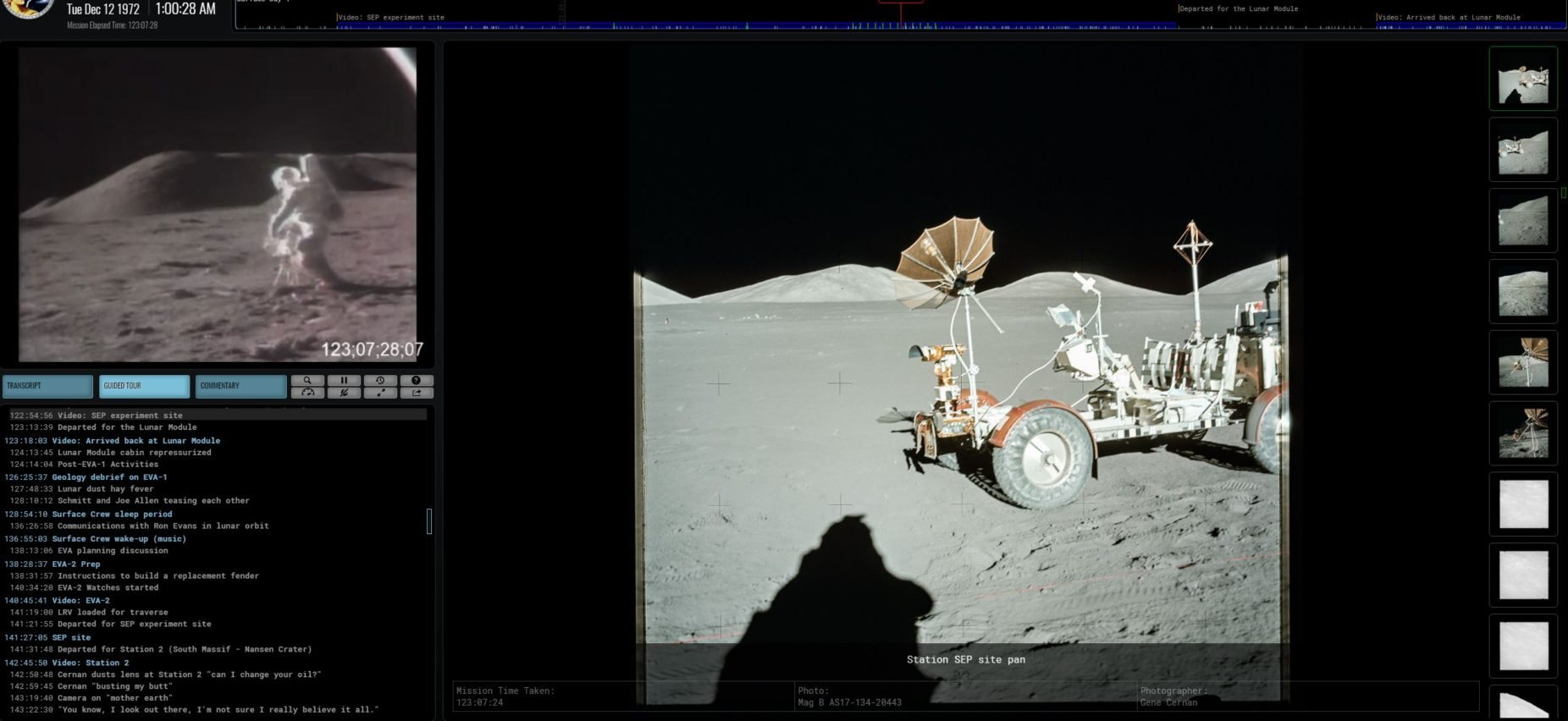 Image: Screen shot from the last time we went to the moon at Apollo17.org webpage