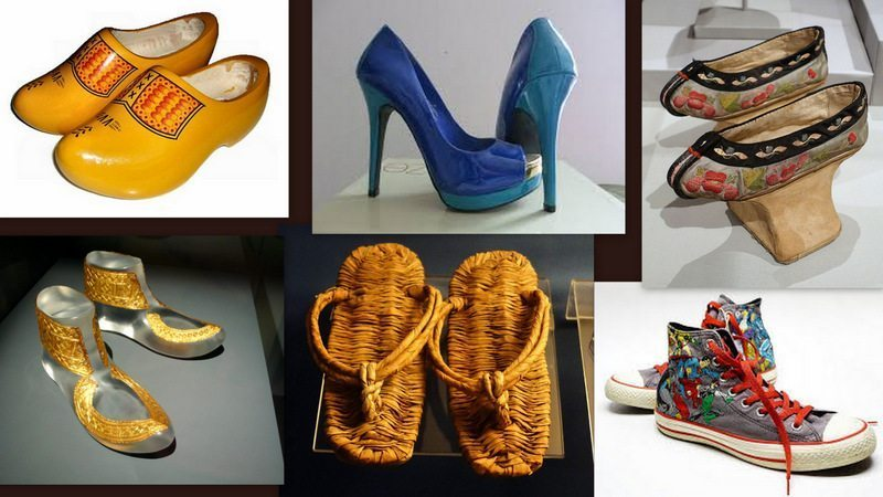 Image: A collage of footwear from different cultures and eras. Do shoes reveal what we value?