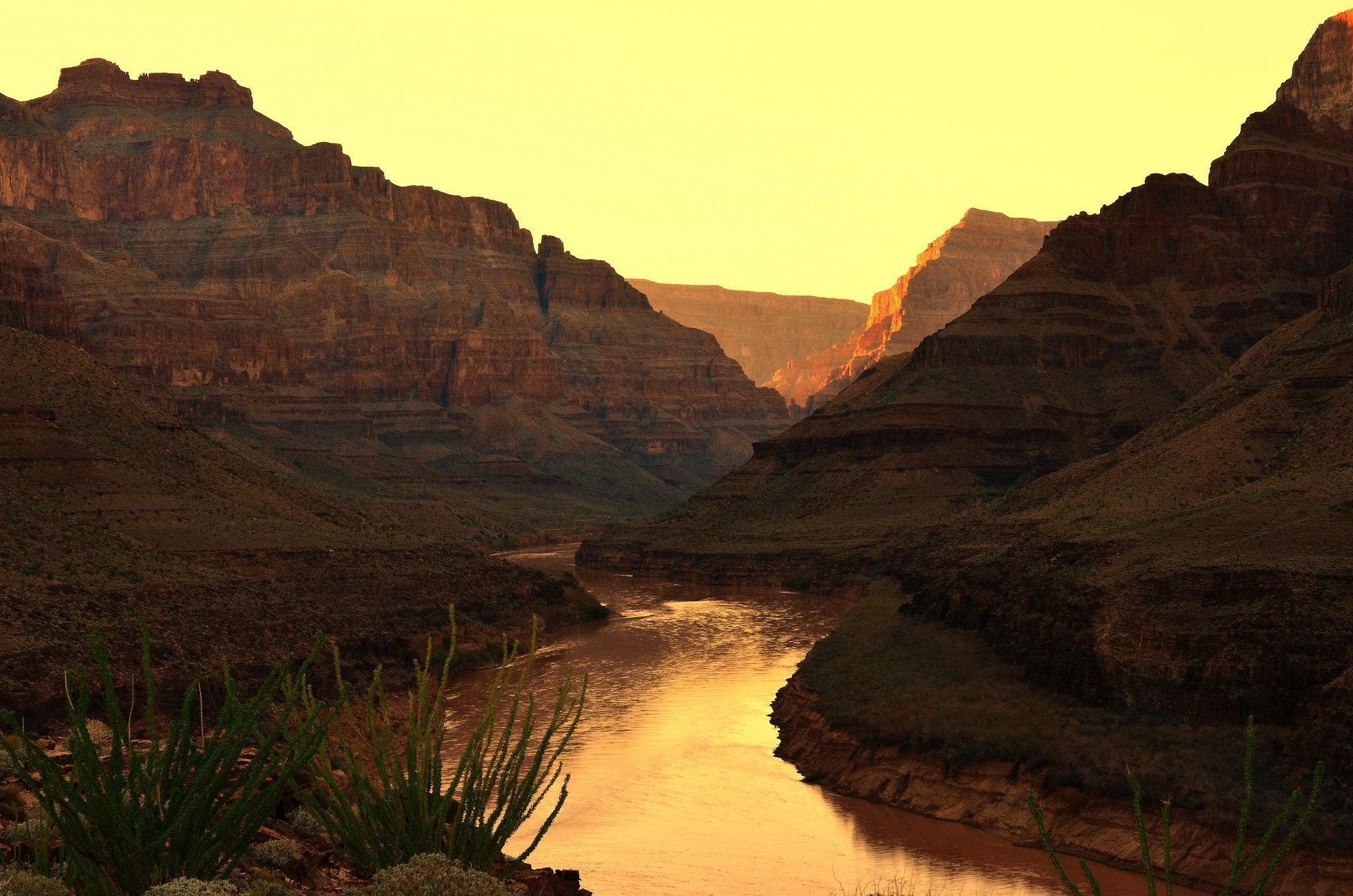 Image: A lake in the Grand Canyon at sunset