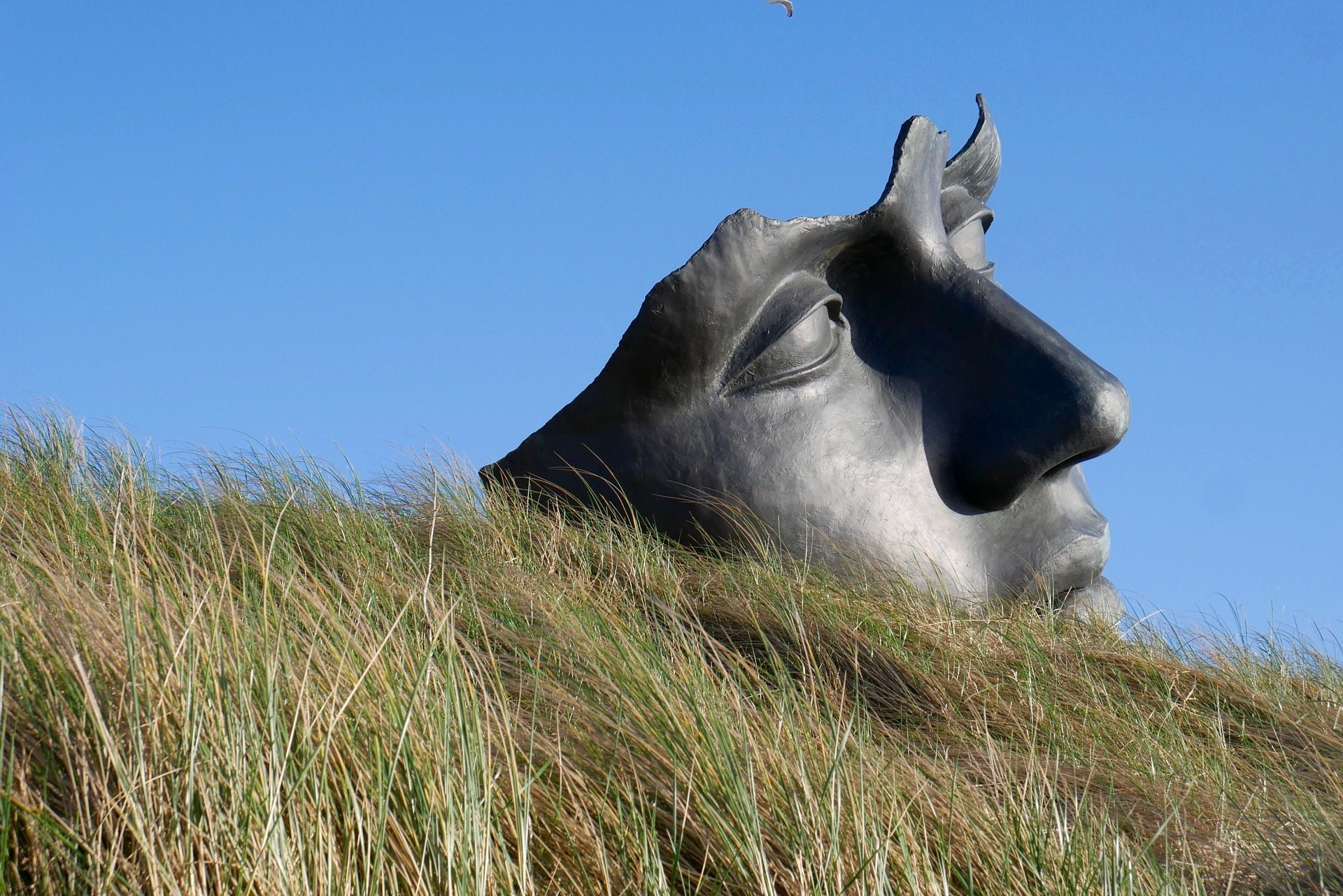 Image: Statue of face on a hill