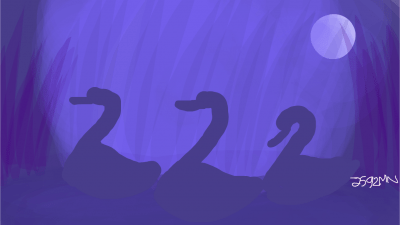 Image: Three swans with the last being left behind