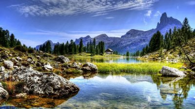 Image: View of mountain and a lake