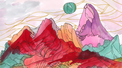 Image: Abstract Water Color painting of mountain range done by artist and activist Sarah Uhl