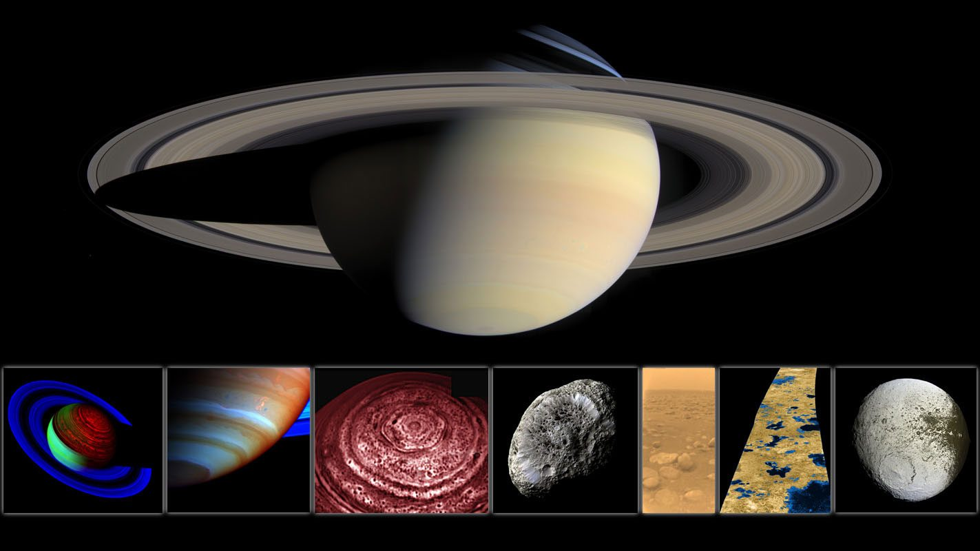 Image: Saturn with its beautiful rings and a collage of other beautiful images taken by Cassini