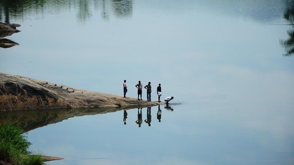 Image: Friends by a lake