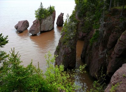 Image: Hopewell Rocks in New Brunswick with the tide in