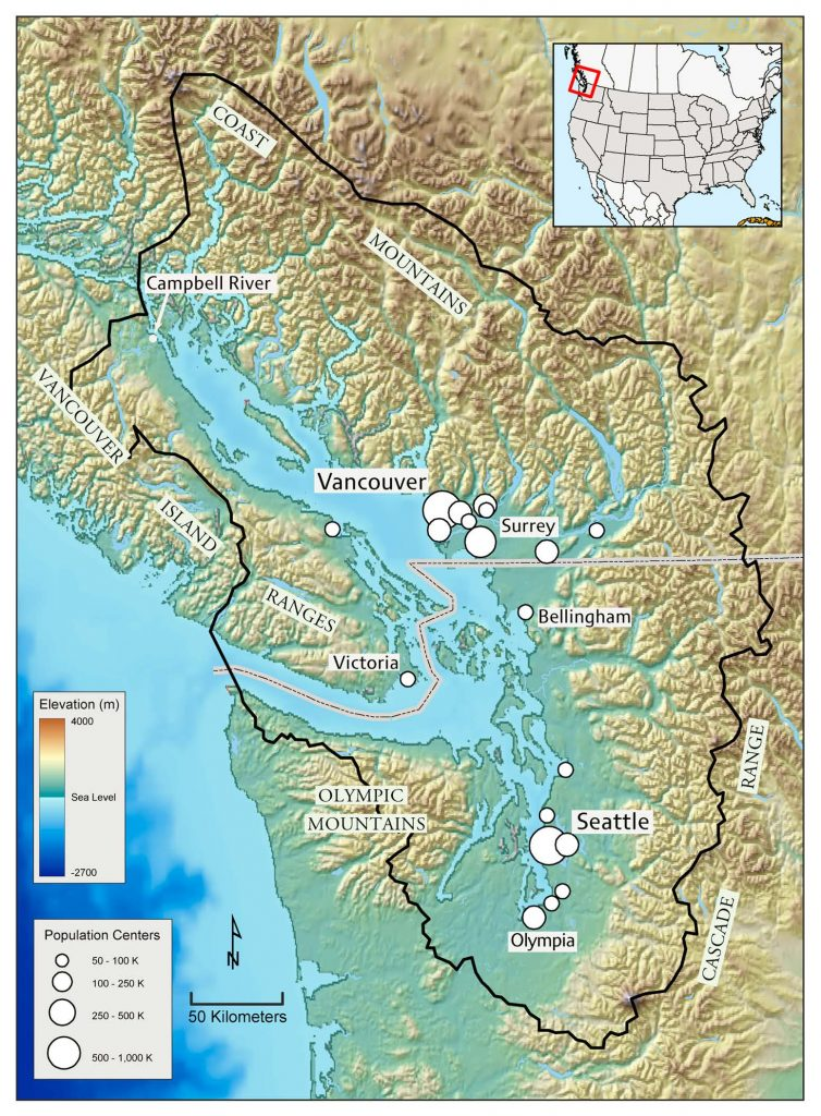 Image: Map of the Salish Sea from Seattle to 100 miles North of Vancouver