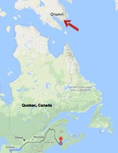 Image: Google Map shot of distance between Iqaluit and Bay of Fundy