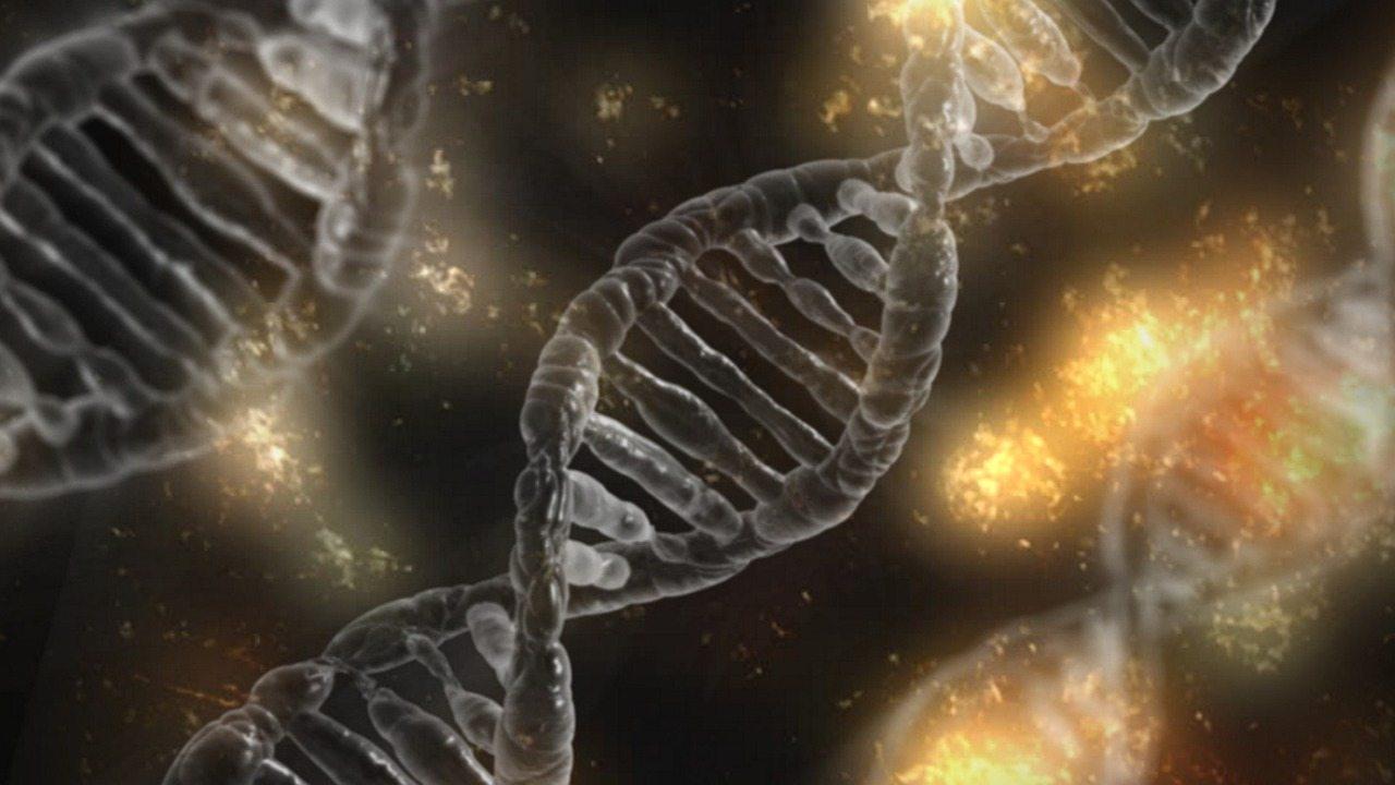 Image: DNA over a black background