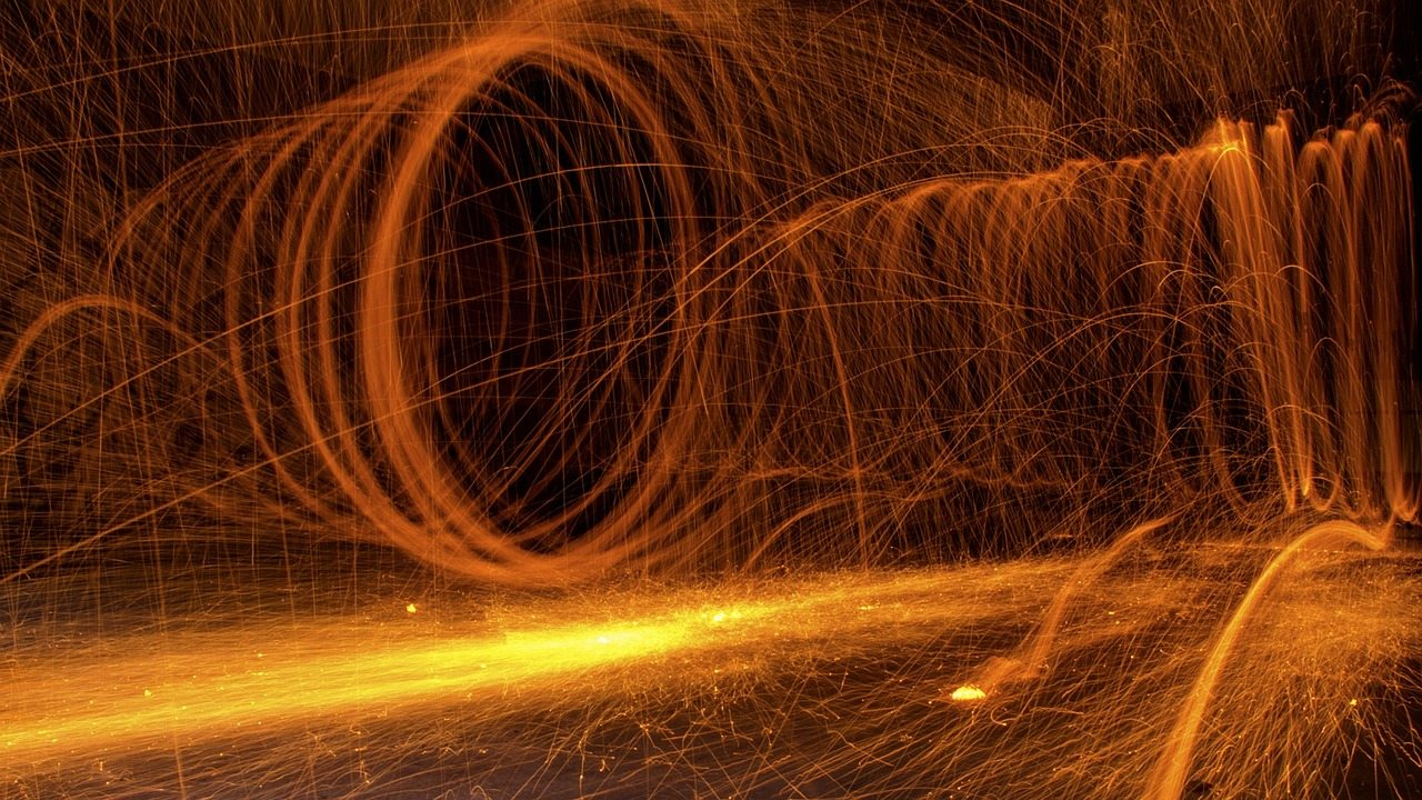 Image: Swirling sparks from a fire