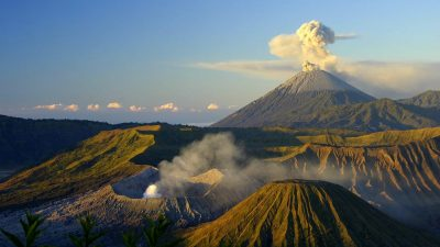 Image: Mount Bromo erupting at sunrise in Java