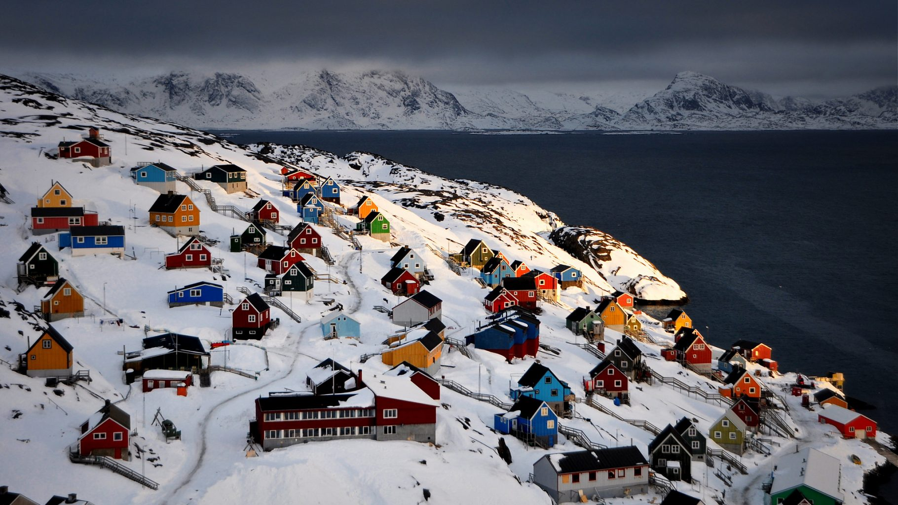 Image: The colorful houses along the coast of Greenland. How will the new generation of people who reside in them navigate the changing climate?