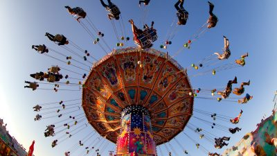 Image: Looking up at people on a carnival ride