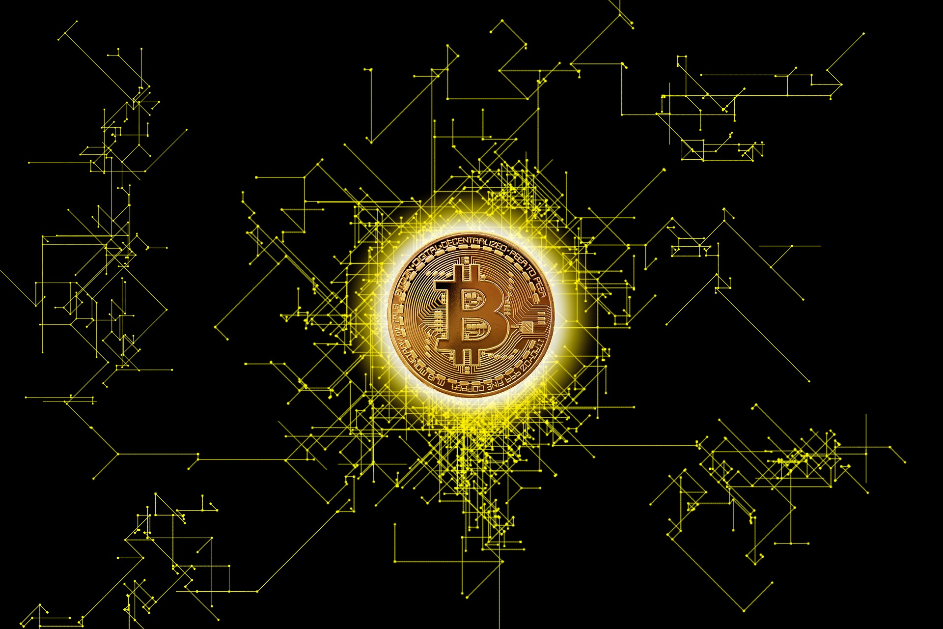 Image: A bitcoin on a black background