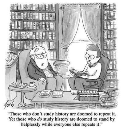 Image: A cartoon of two scholars comiserating in a library. One says, ""