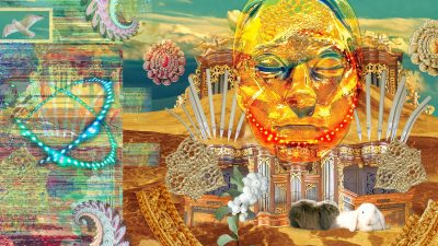 Image: Abstract collage of a face rabbits and psychedelic patterns