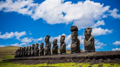 Image: A line of Moai statues on Rapa Nui also called Easter Island
