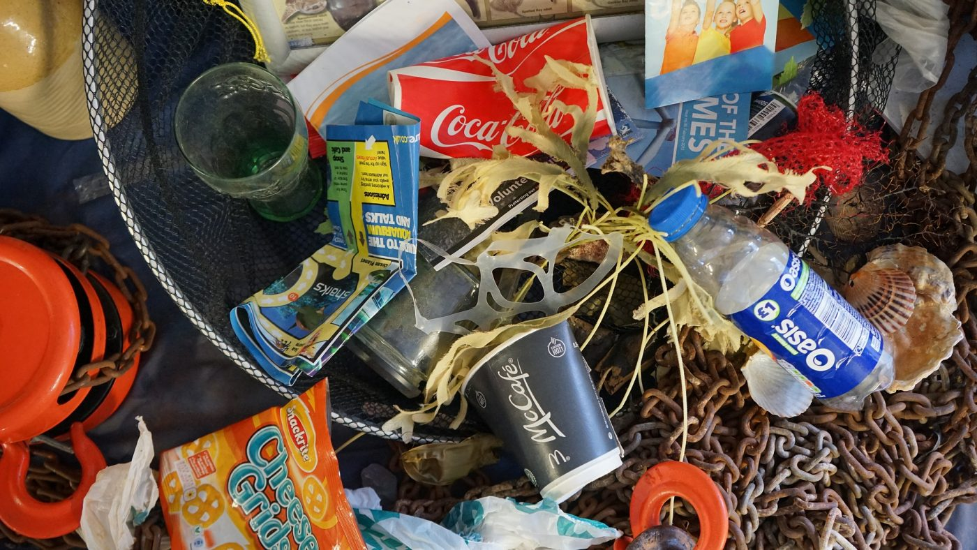Image: Plastic waste mixed with sea garbage