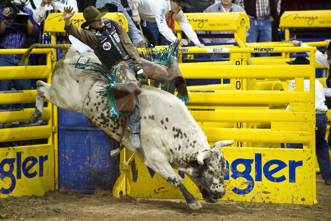 Image: man riding bull