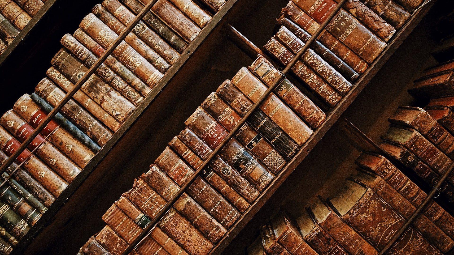 Image: Leather-bound books on a slanted shelf