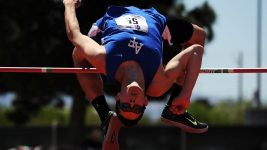 Image: High jumper in awkward looking position