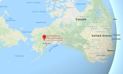 Image: Google Map shot of the location of Denali National Park