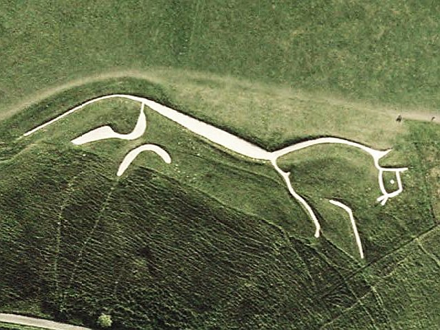Image: Satellite photo of the Uffington White Horse on a hill