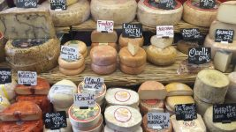 Image: variety of cheese at a market!