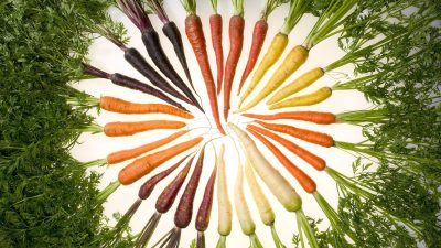 Image: Carrots of many colors arranged in a swirl