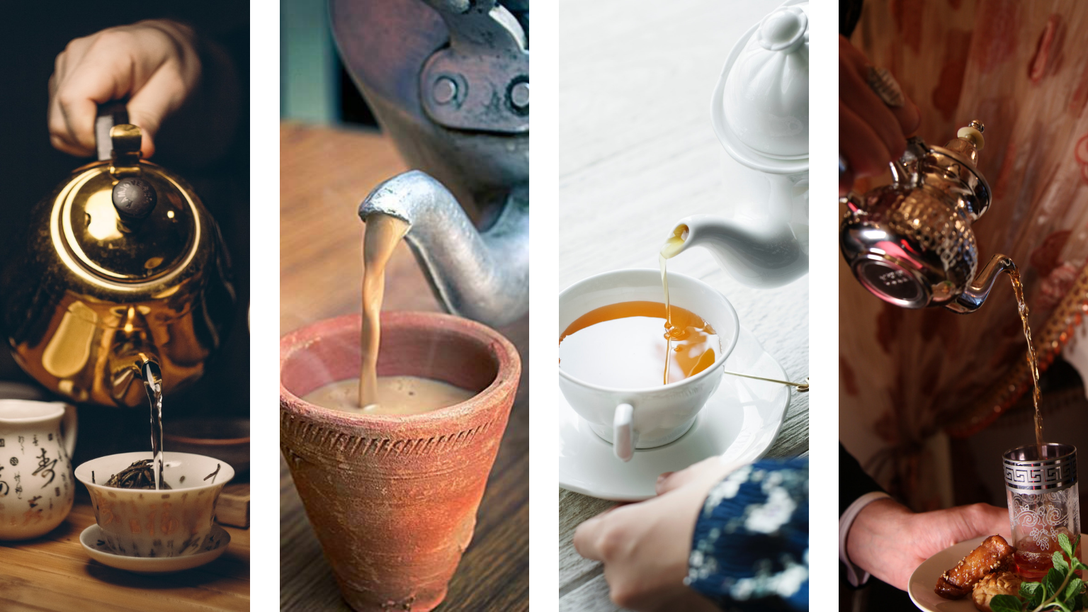 Image: tea being poured four ways