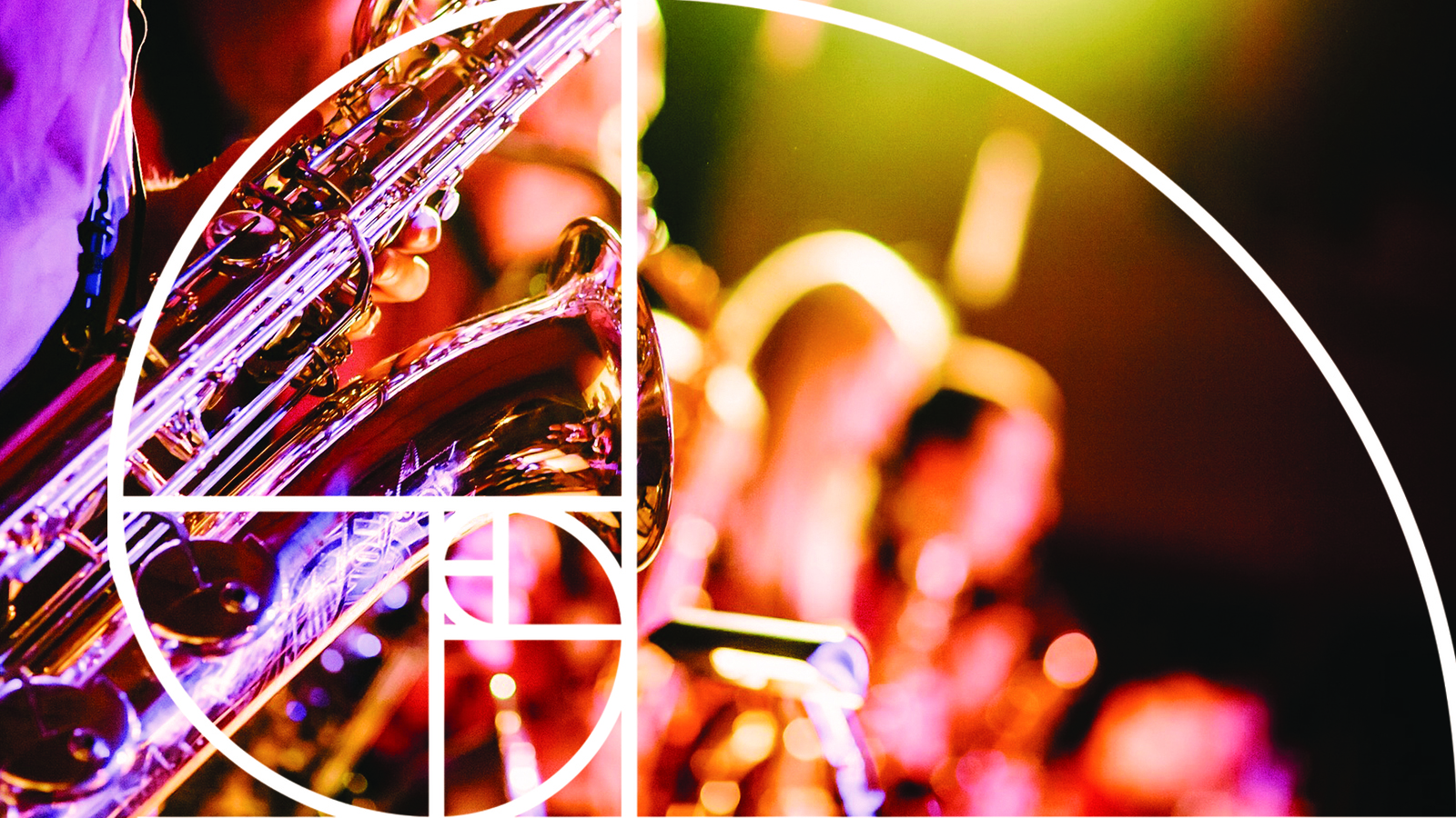 Image: Golden Ratio spiral over image of saxophone player