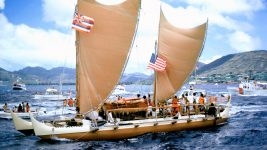 Image: Hawaiian double hulled sailing canoe arriving in Honolulu from Tahiti