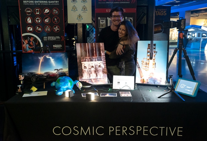 Image: Ryan Chylinski and MaryLiz Bender at their Cosmic Perspective augmented reality booth at Yuri's Night 2019, NASA Kennedy Space Center.
