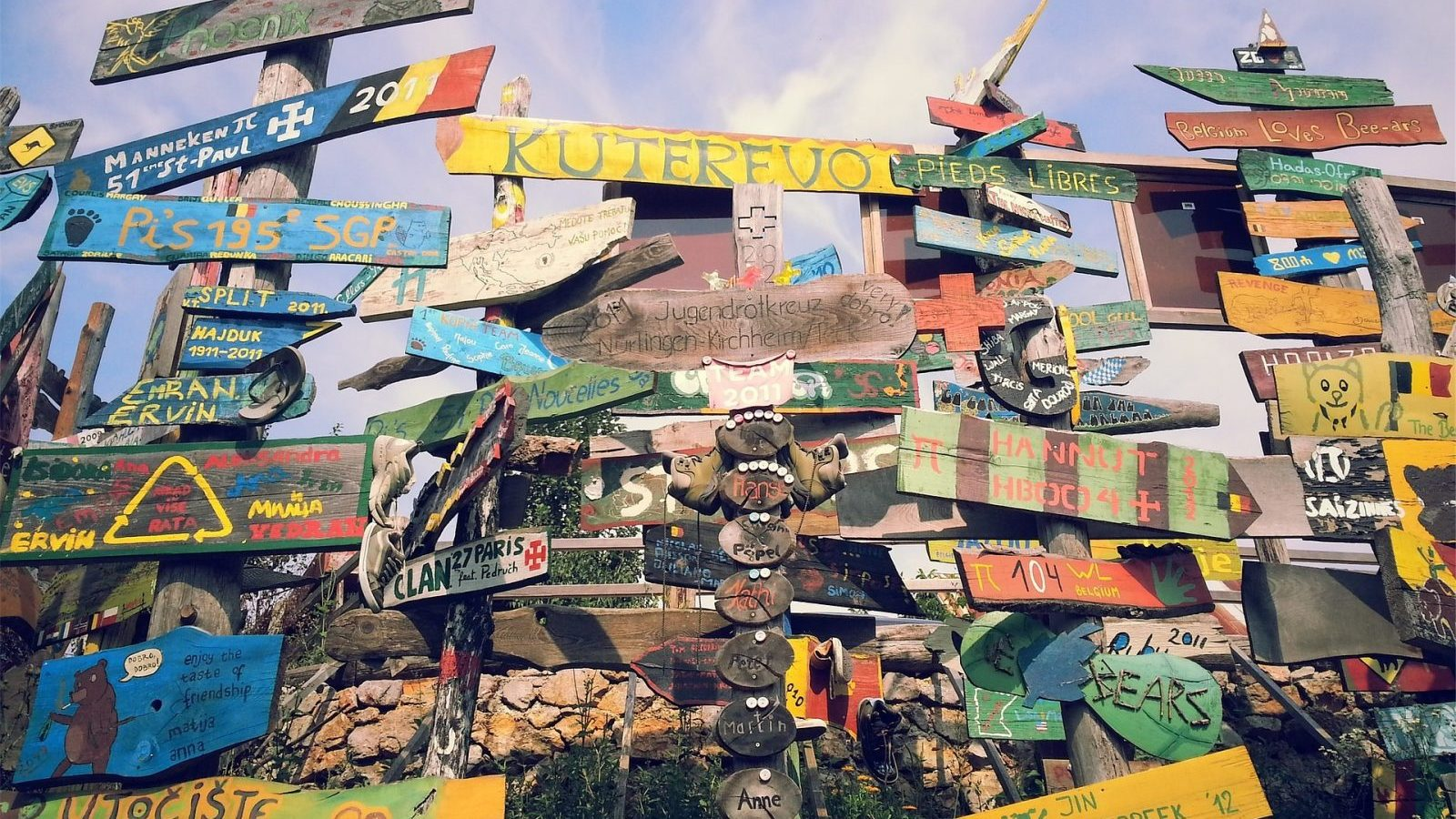 Image: a cluster of wooden signs pointing in many directions