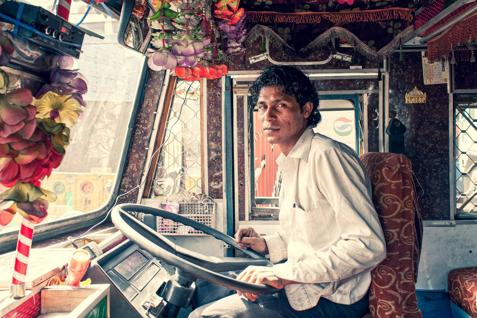 Image: Truck driver sitting in the cab