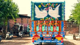 Image: Birds painted on the back of a truck