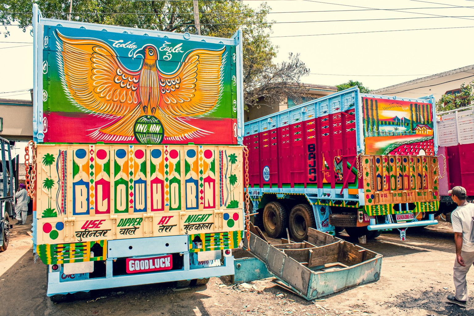 Image: Two brightly painted trucks next to each other. One is adorned with a bird.