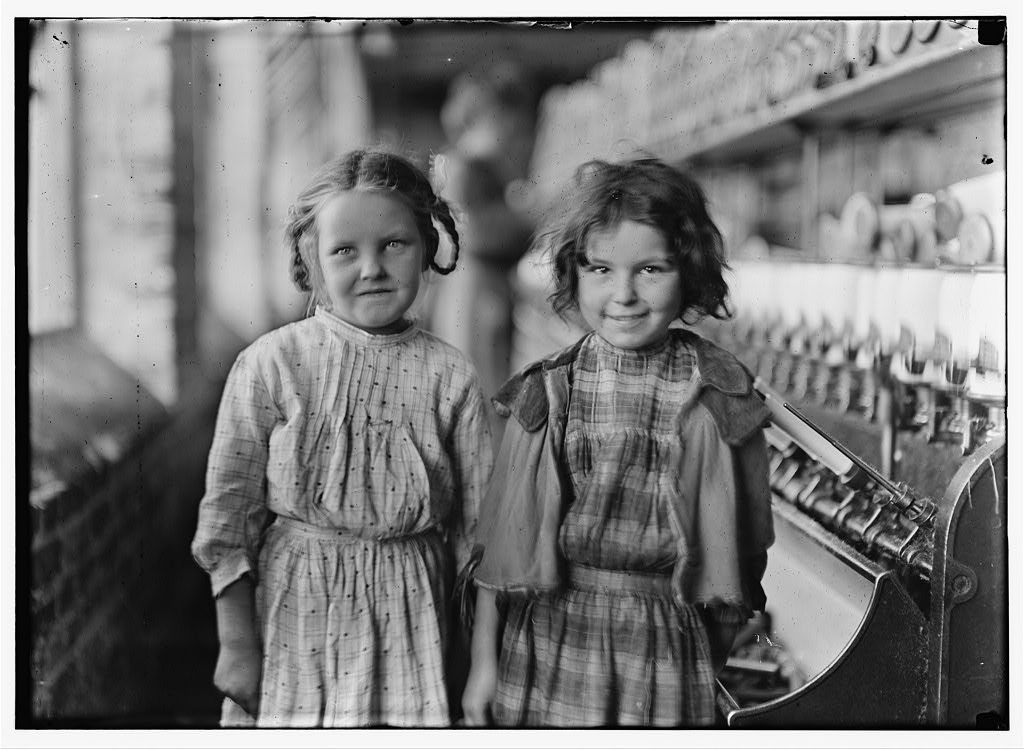 Image: Photo taken by Lewis Hine of two young girls working at the cotton mill.