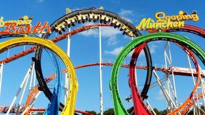 Image: colorful roller coaster loops