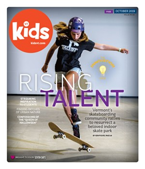 "Image: Cover of Kids VT magazine titled ""Rising Talent"" with an image of a young person riding a skateboard"