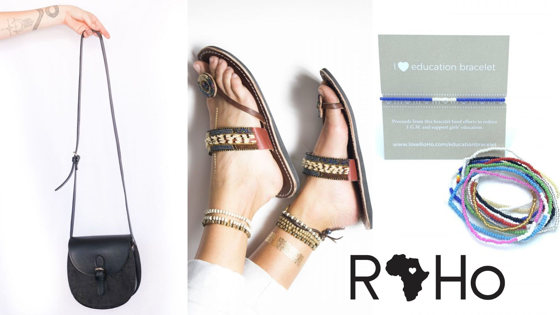 Image: Roho Goods Small Tsavo Crossbody, Black, Beaded Amani Sandal, and Education Bracelets