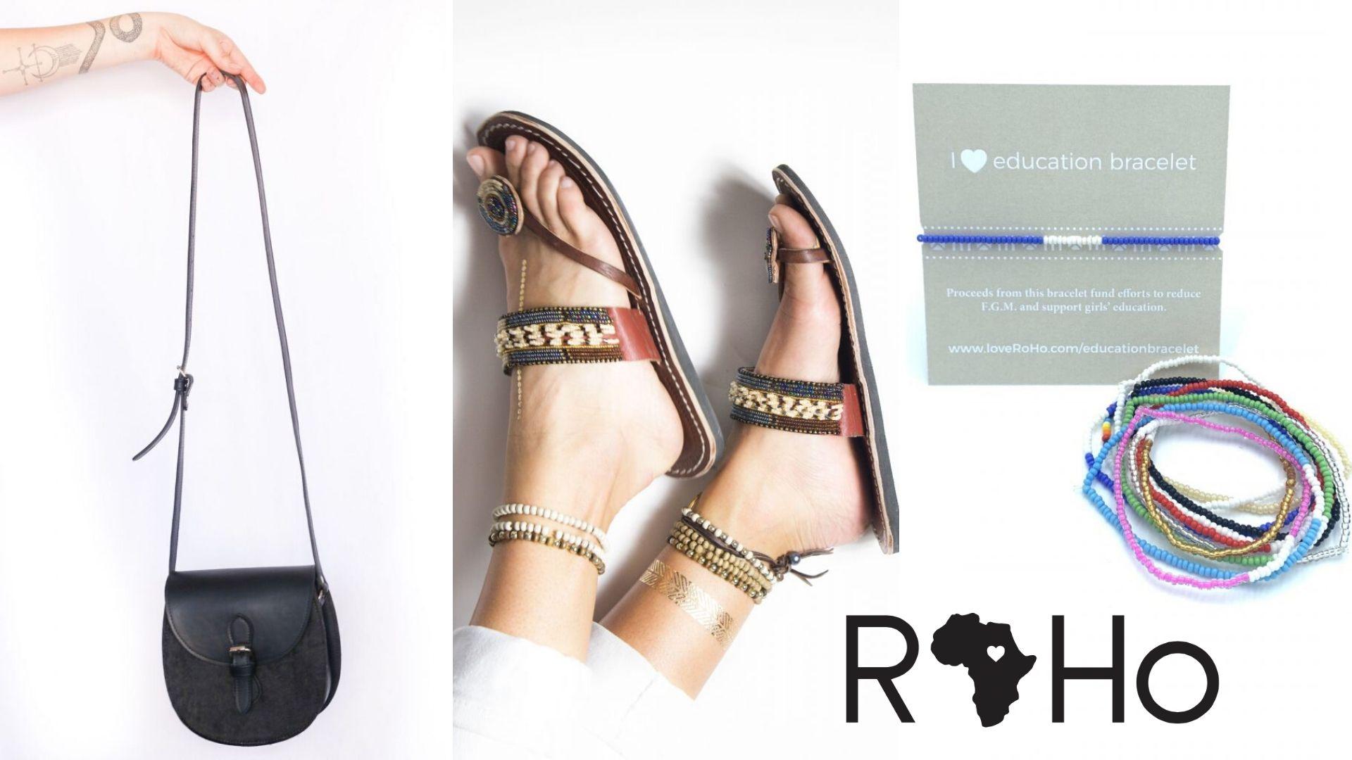 Image: Roho Goods Small Tsavo Crossbody, Black, Beaded Amani Sandal, and Education Bracelets