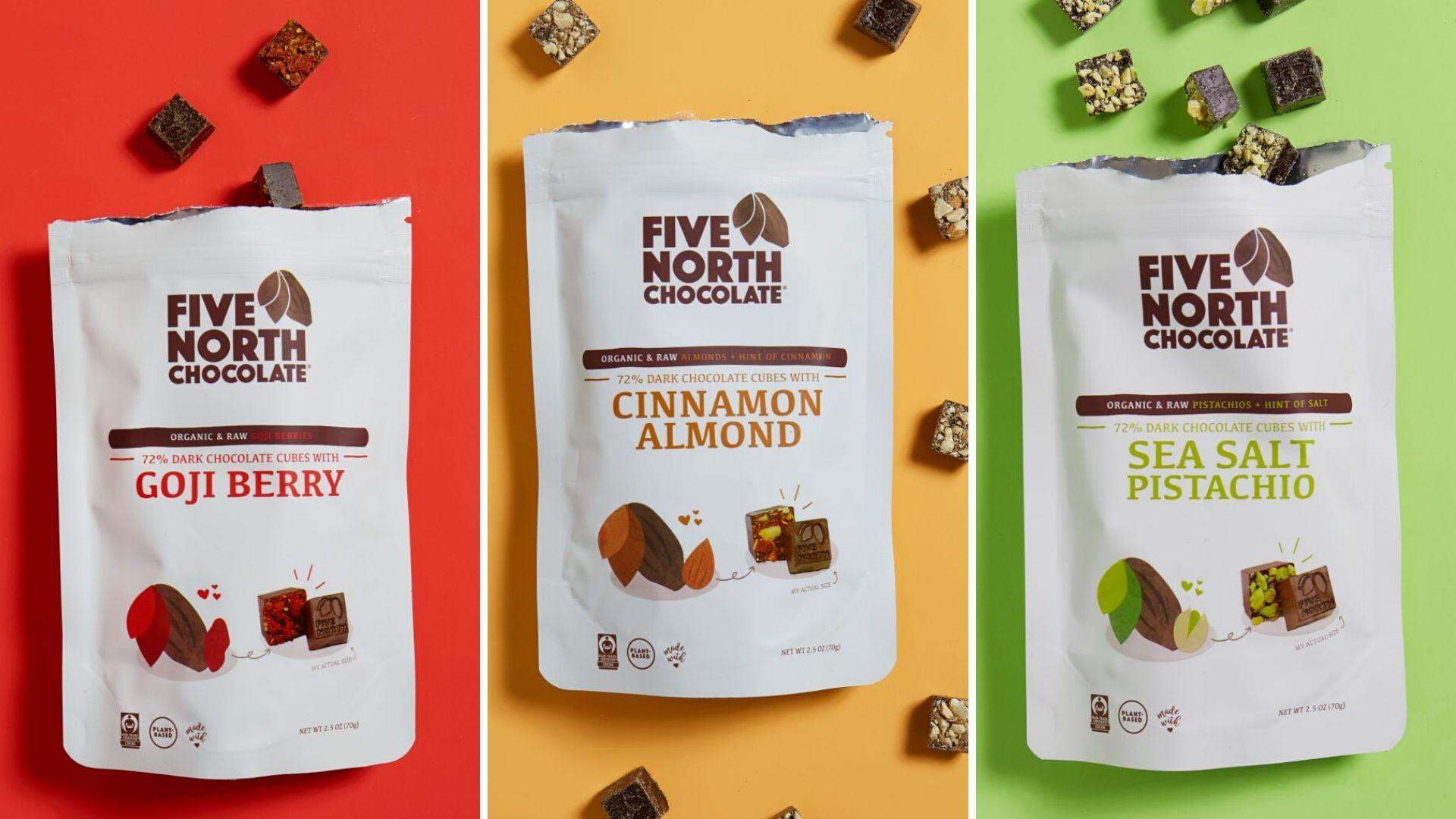 Image: Five North Chocolate Gogi Berry, Cinnamon Almond, and Pistachio chocolates