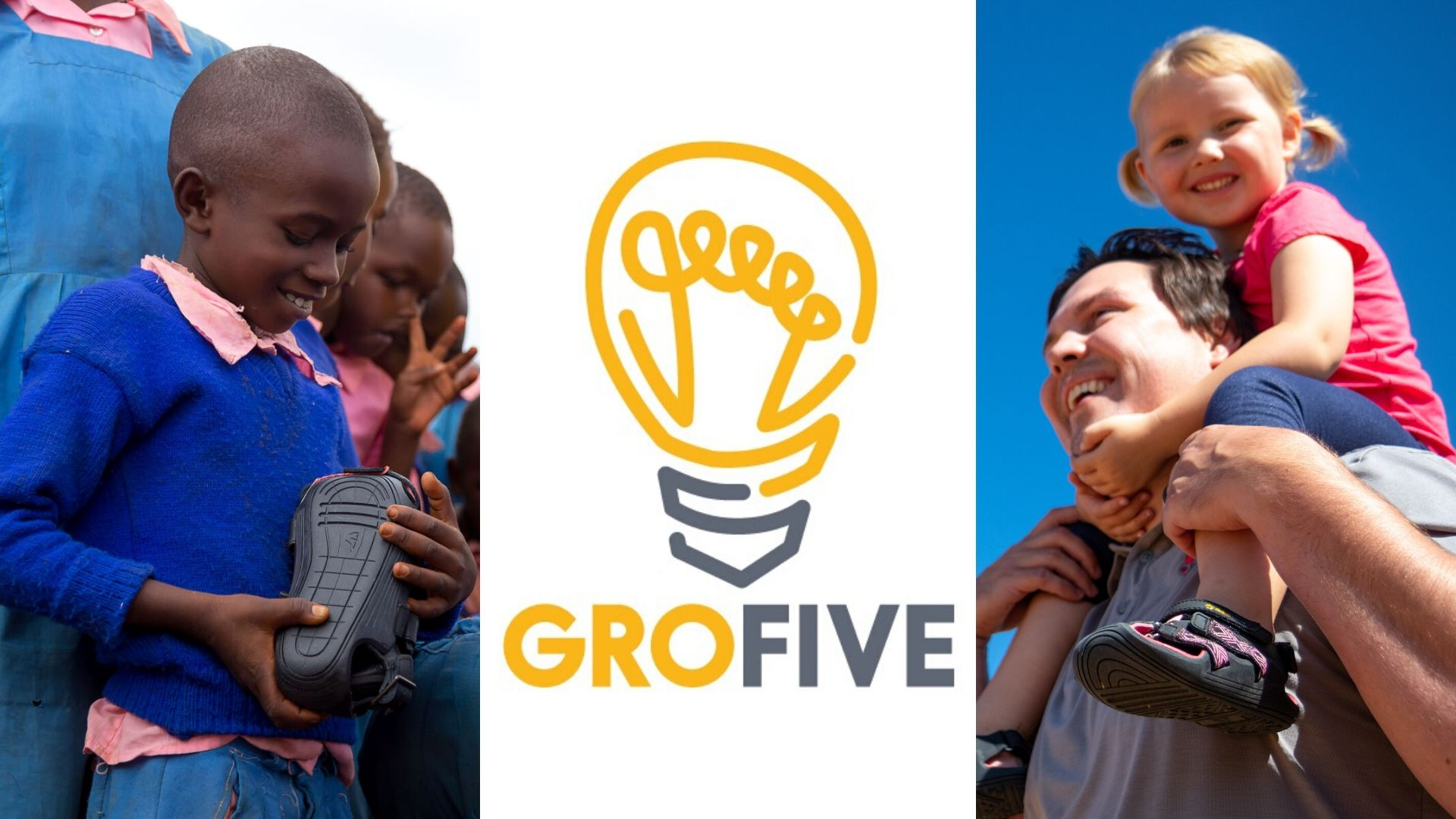 Image: child receiving The Shoe that Grows, GroFive Logo, girl wearing GroFive expandles while on her dad's shoulders