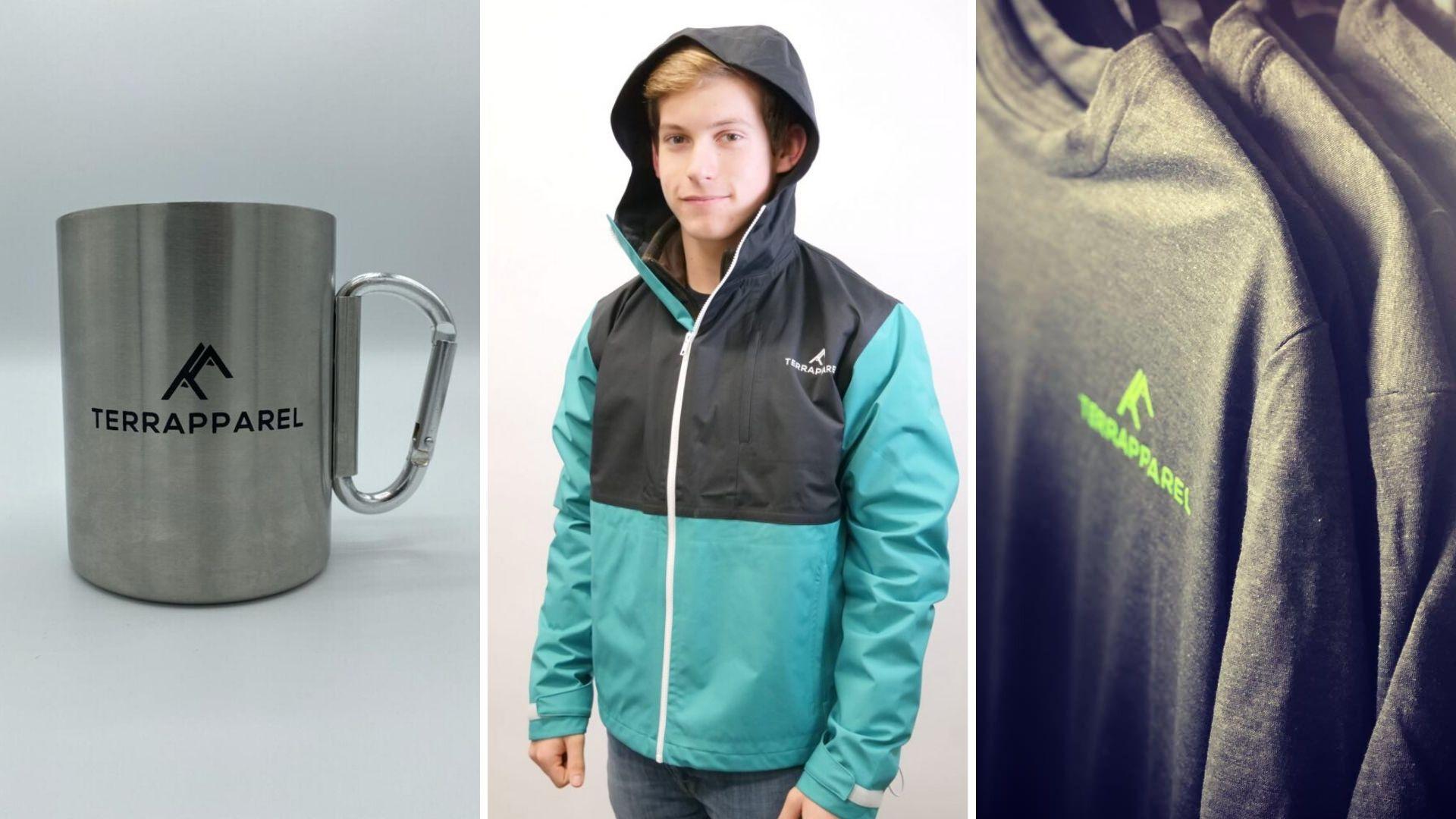 Image: TerrApparel mug, model wearing the Guardian rain jacket, and shirts