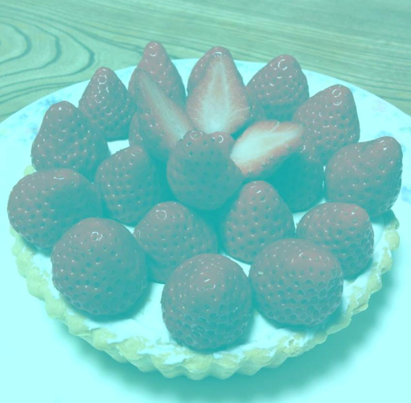 Image: illusion of strawberries appearing to be red but they are actually grey